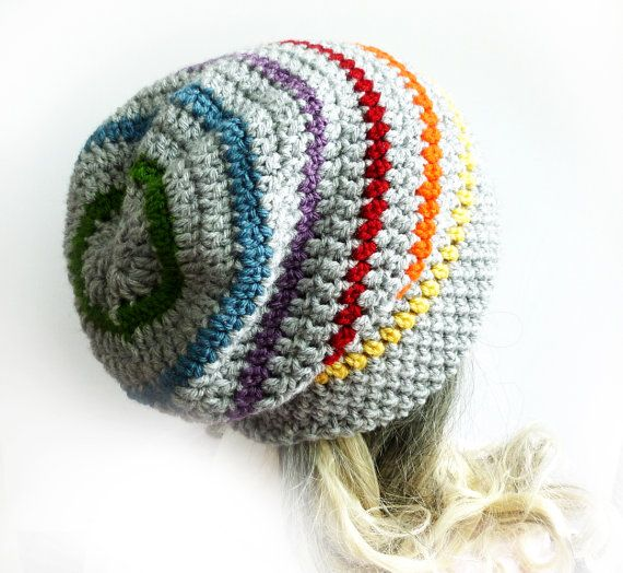 Slouchy Beanie Crochet Slouch Hat LGBT Gay pride Mens Womens Gray ...