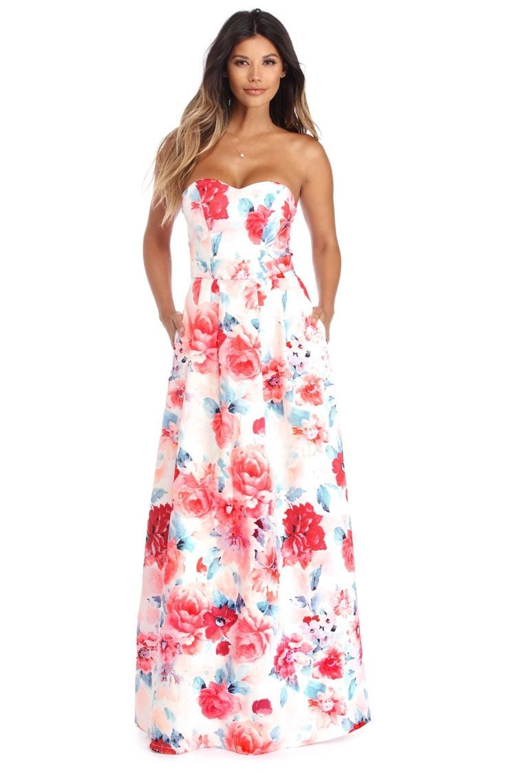 Long floral dress for wedding  Belen Ivory Floral Beauty Gown  WindsorCloud  love it  Pinterest