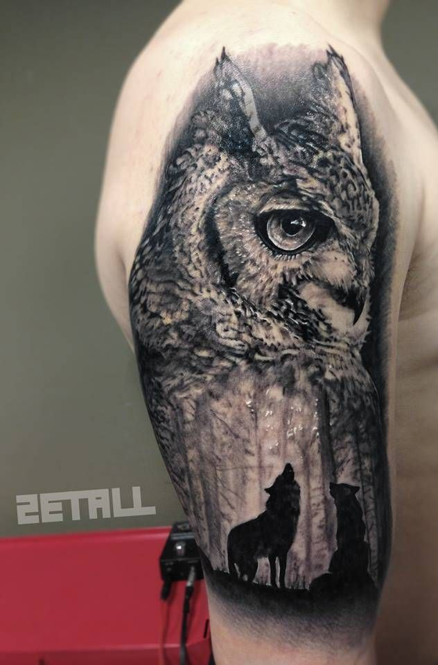 Surrealist Owl And Wolf Tattoo On The Right Upper Arm And Shoulder Wolf Tattoos Wolf Tattoo Tattoos