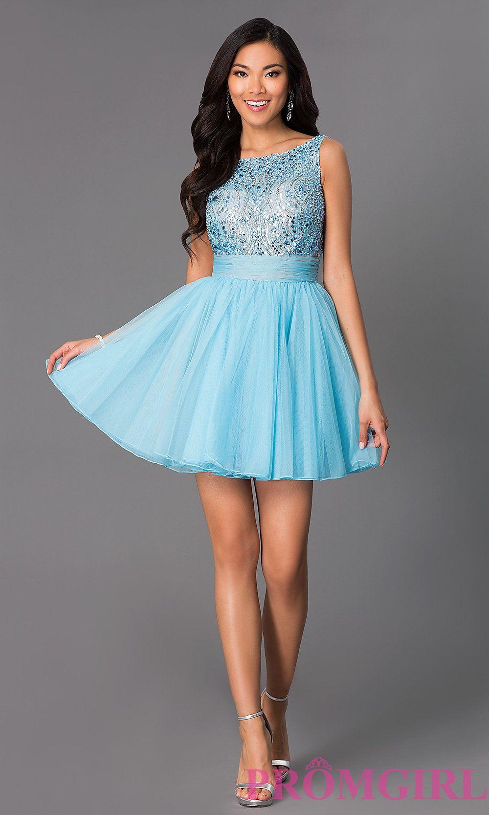 Gorgeous beaded short dress in light blue by sherri hill dress