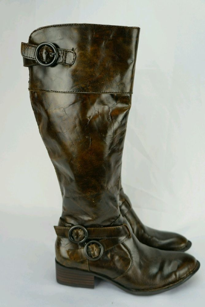 Born Crown Lira Damenschuhe Braun Stiefel Größe 4  Leder  34 Leder  Buckles 915dcf