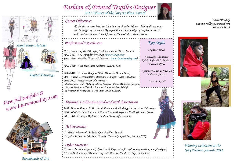 curriculum vitae fashion designer
