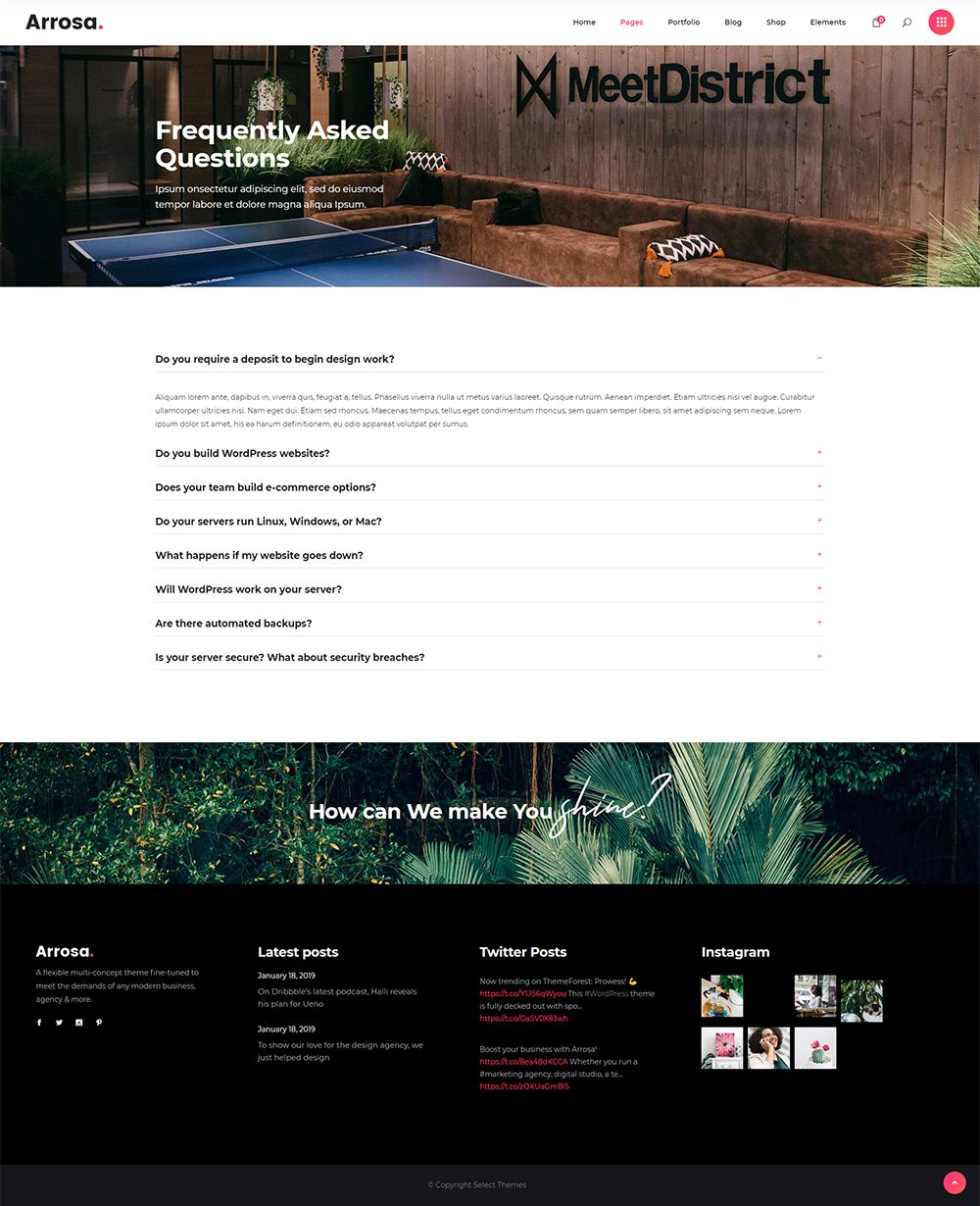 Import the full Arrosa WordPress theme demo and have your business website up and ready in no time. #wordpress #theme #design #webdesign #uxdesign #uidesign #creative #portfolio #designer #freelancer #creativeagency #designstudio #marketingagency #colorful #modern