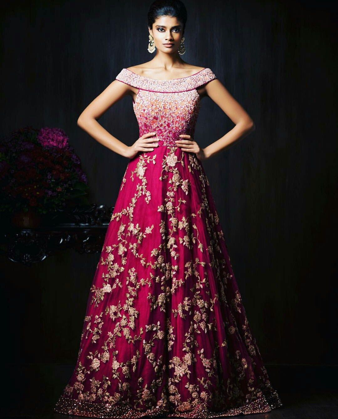 Reception Gowns For Indian Brides Shyamal Bhumika Pink Red Tail Gown Bridal Wear Wedding Bride Boat