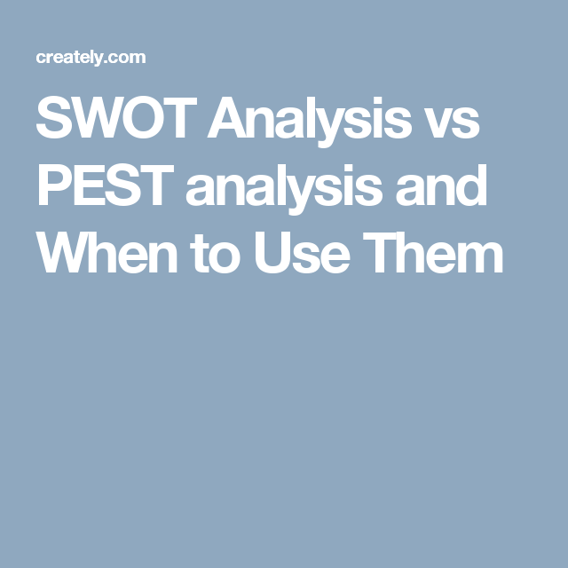 SWOT Analysis vs PEST analysis and When to Use Them in 2018 | Swot ...