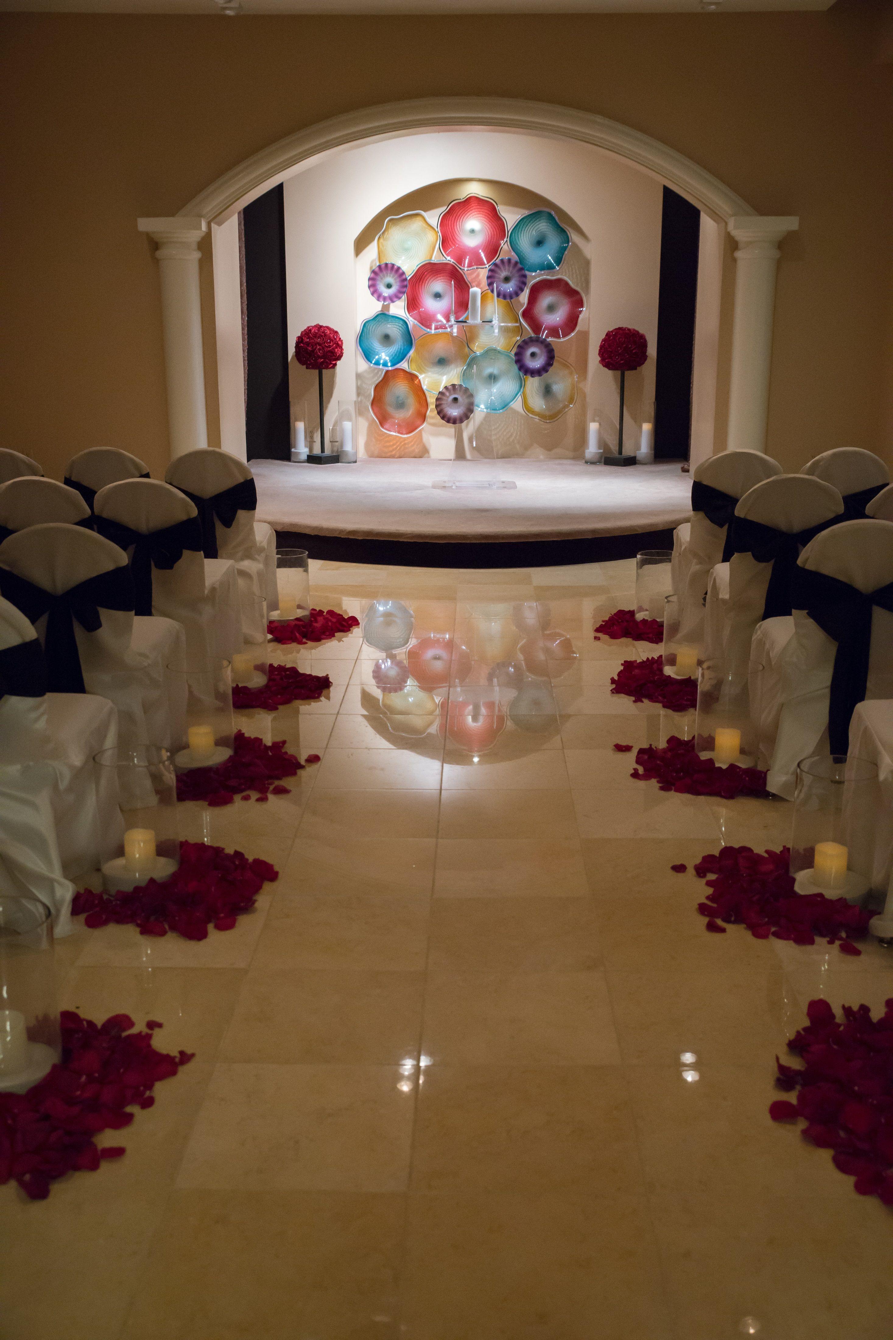 Red and Black Wedding Ceremony decor Las Vegas Wedding Planet