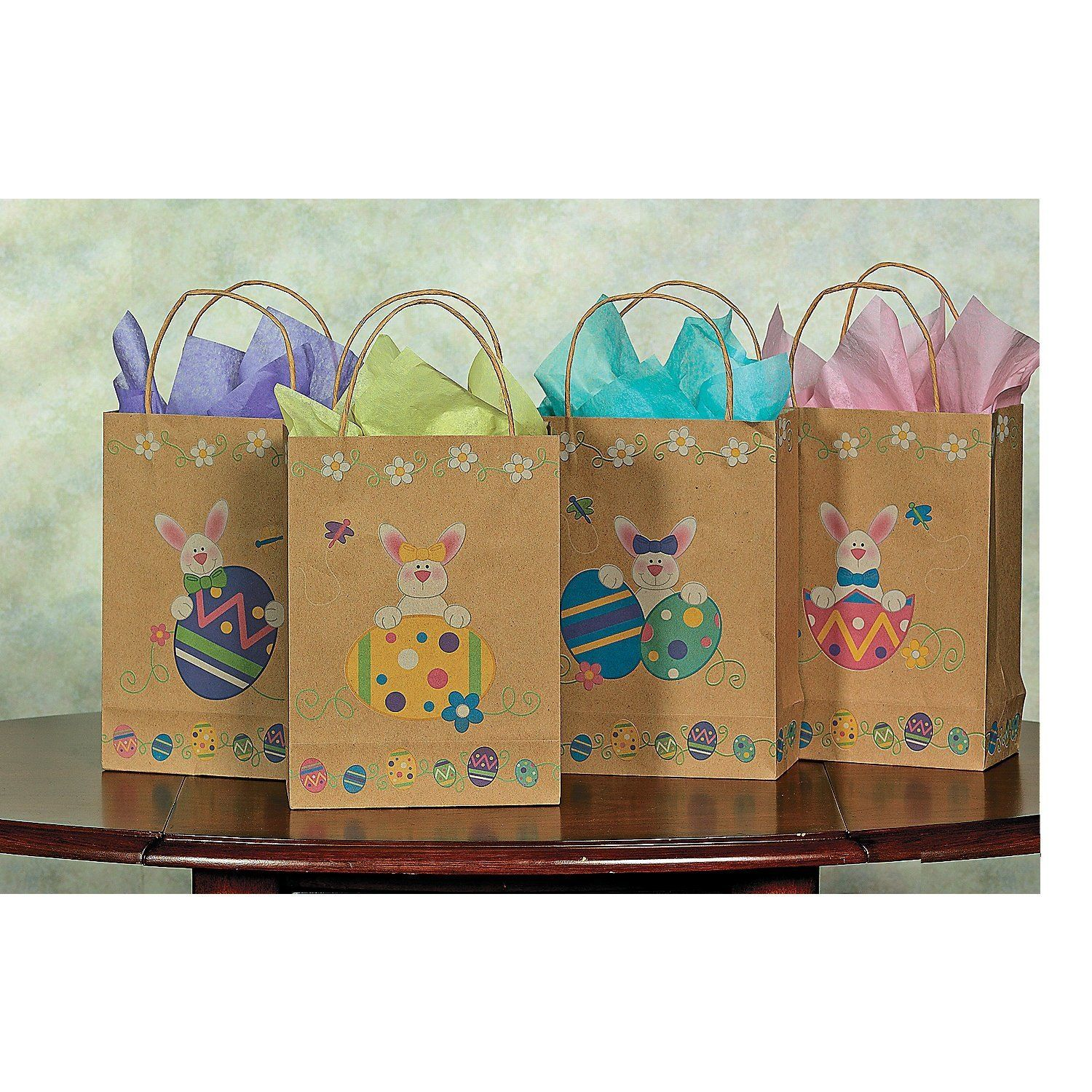 Brown paper printed easter bunny and eggs gift bags 12