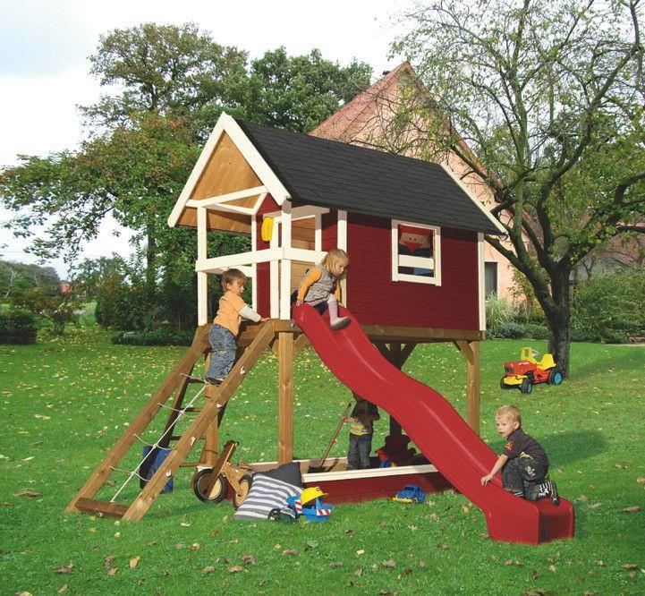 kinder-spielhaus-set karibu «gernegross rot» stelzenhaus holz,