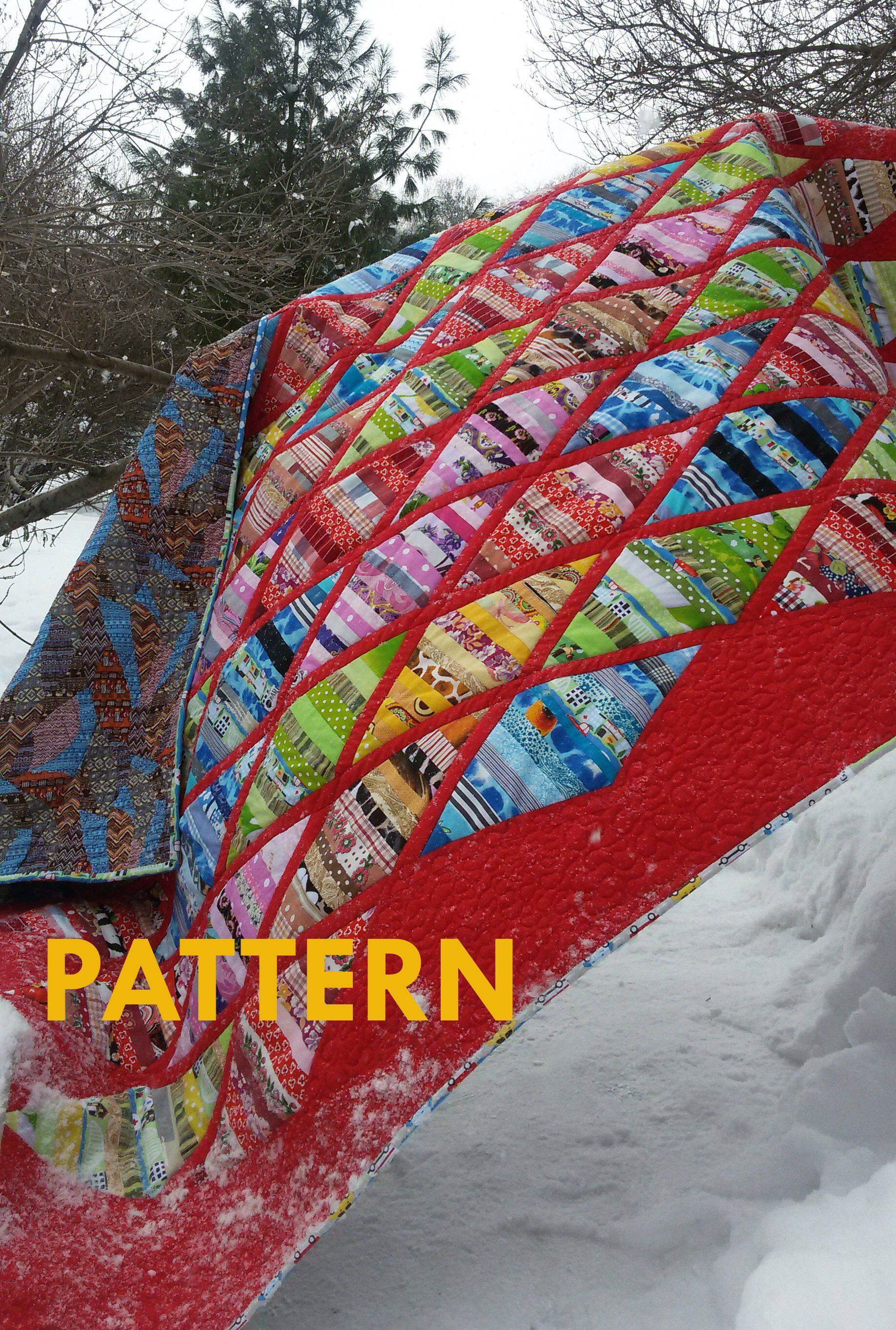 PDF Quilt Pattern Patchwork quilt from the remains Quilt Pattern Throw Easy Pieced diamonds Scraps quilt pattern