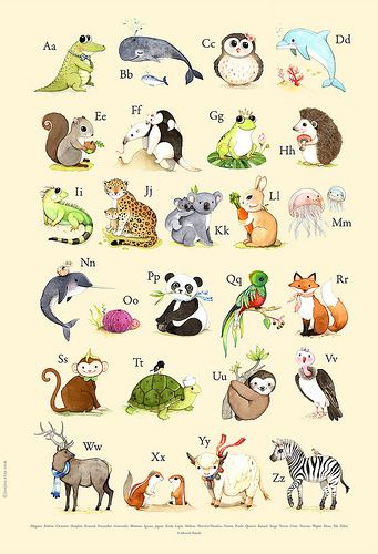 French Abc Animals Alphabet Poster Animal Drawings Alphabet Wall Art