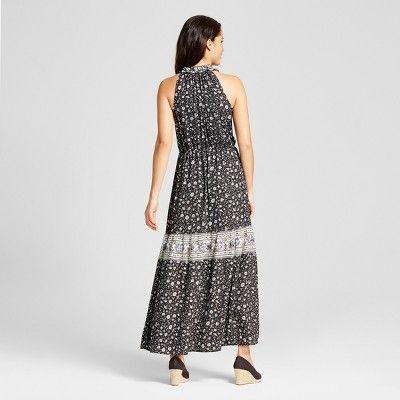 Women's Floral Print Button Front Maxi Dress - Knox Rose Black Xxl