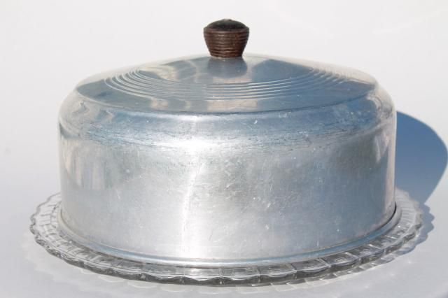 1940s or 50s vintage kitchen glass cake plate w/ metal cake cover dome & This 1940\u0027s or 50\u0027s vintage glass cake plate w/ metal cake cover ...