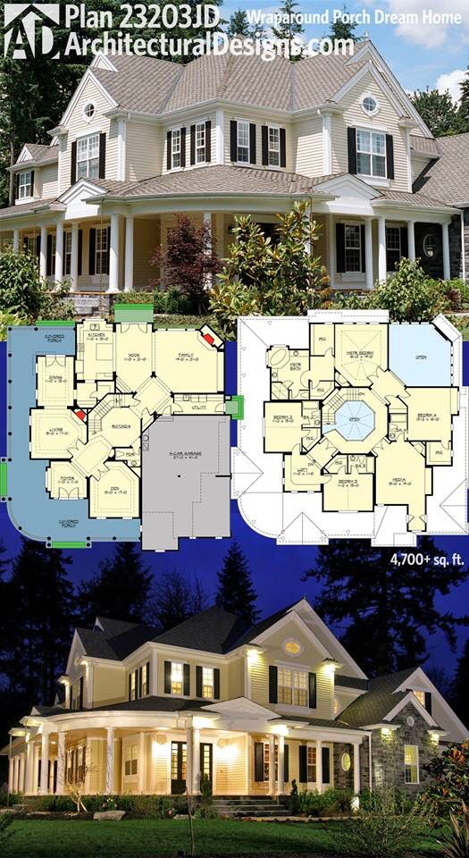 Architectural designs house plan jd has  wraparound porch that looks great day and night beds baths over square feet of living also bath for every bedroom pinterest rh