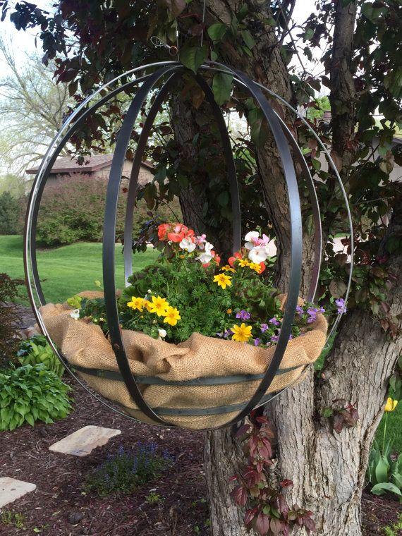 industrial hand riveted large metal garden orb planter garden rh pinterest com