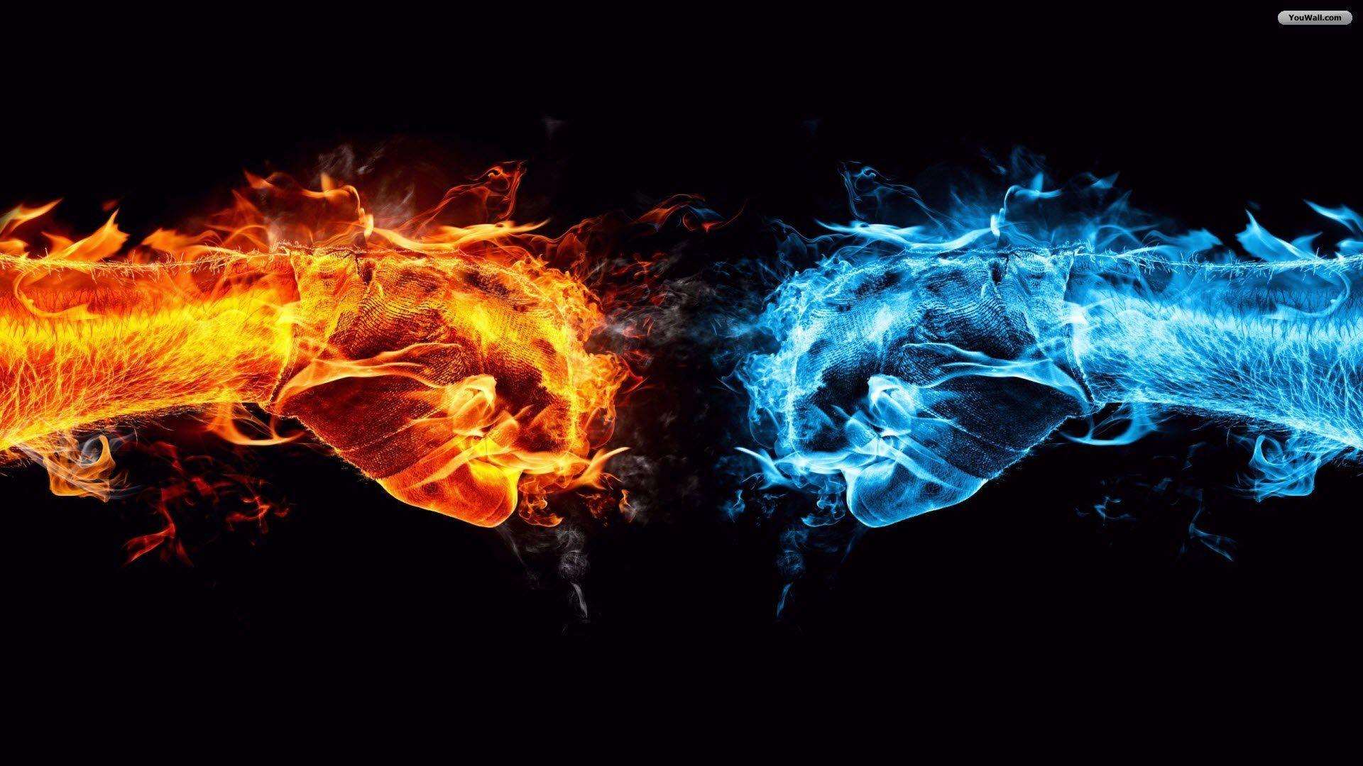 Fists Of Fire Ice Fire Art Cool Desktop Wallpapers Cool