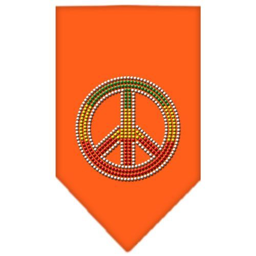 Rasta Peace Rhinestone Bandana Orange Large