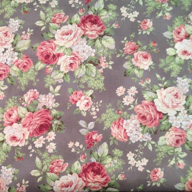 Tissu Stof Bouquets De Grandes Roses Sur Fond Violine