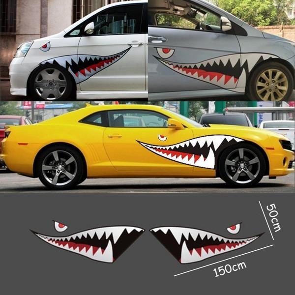 car van decal sticker 2 X SHARK MOUTH