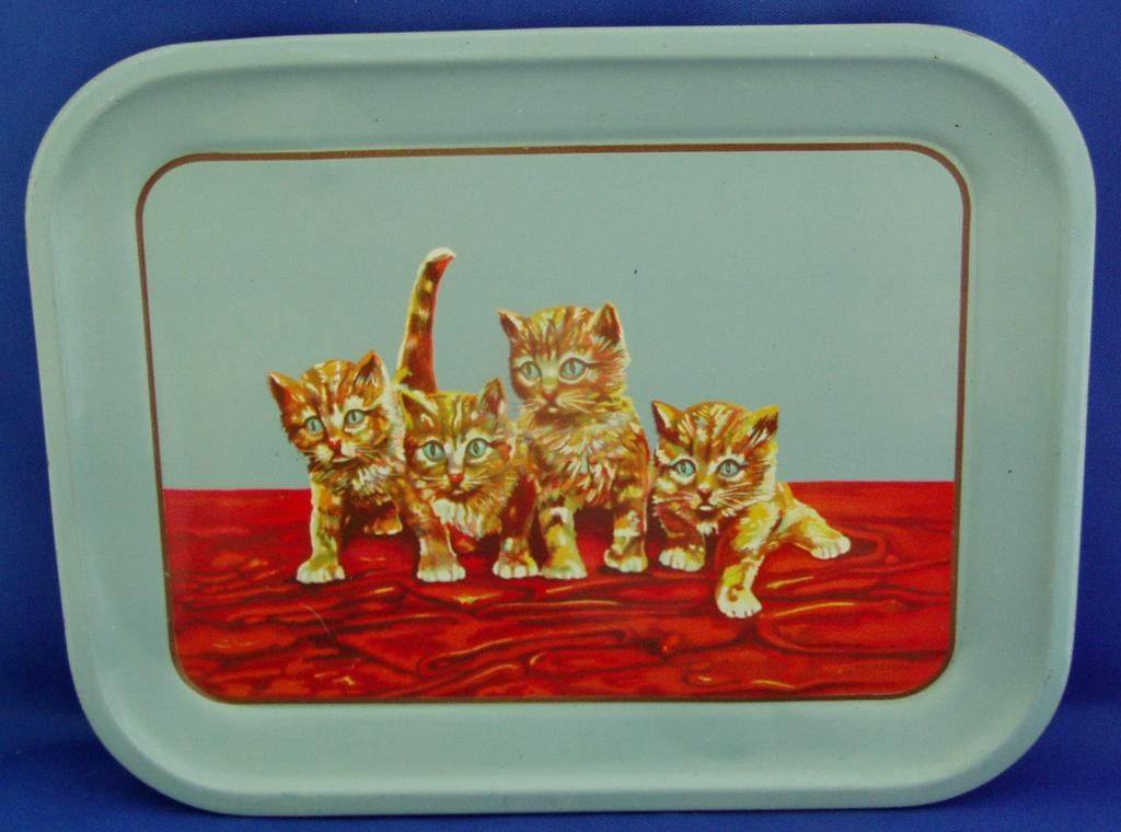 Vintage tin child's tea set tray, kittens, cats from The Old Grey Mare on Ruby Lane
