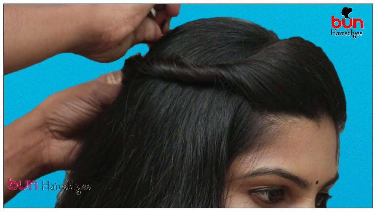 Front Puff With Bun Hairstyle For Saree Simple Puff Hairstyle Step By Saree Hairstyles Bun Hairstyles Hair Puff