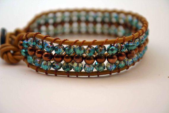 Beaded #leather #wrap bracelet Cuff #bracelet