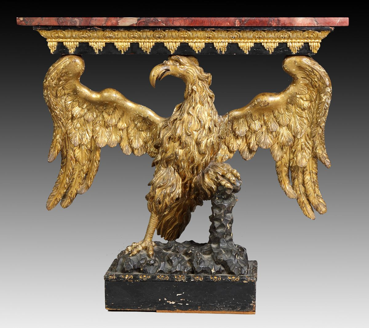 Early 19th Cent. Carved & Gilt Wood Eagle Console Table w/Marble Top. Possibly, American.