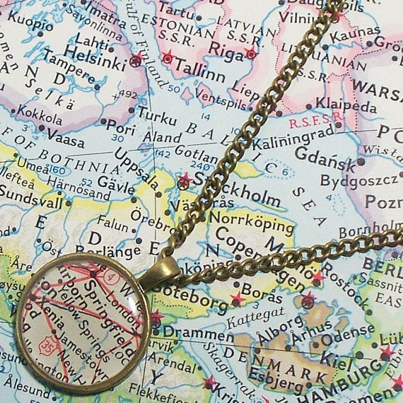 Yellow Springs Ohio 1947 Map Necklace Map Pendant Map Jewelry