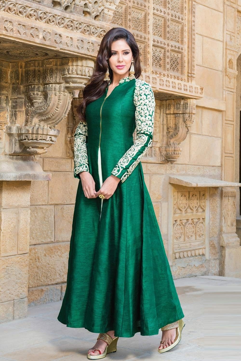 Green raw silk designer anarkali churidar kameez for weddings ...