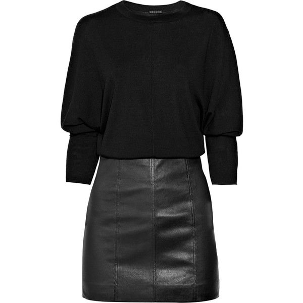 Theory Wool And Leather Dress ❤ liked on Polyvore featuring dresses, vestidos, black dresses, black, day dresses, women, loose fitted dresses, black fitted dress, black wool dress and fitted dresses