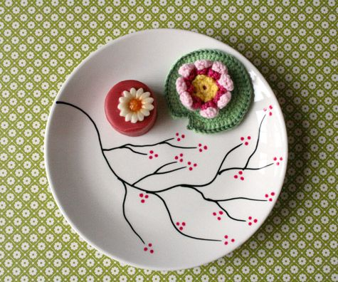 Weekend diys cherry blossoms cherries and markers for Where to buy ceramic plates to paint