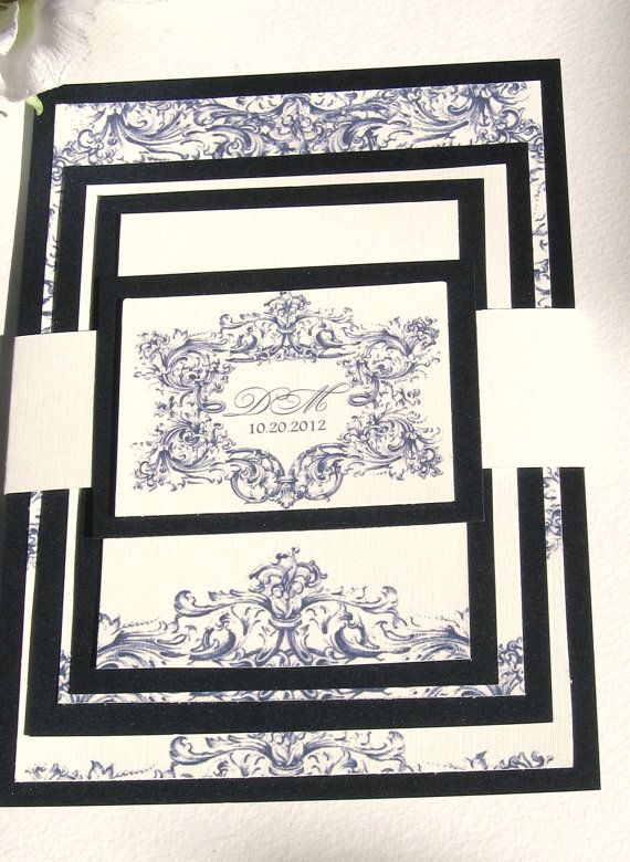 Custom Wedding Invitation Midnight Blue Vintage by Penmagic, $4.50