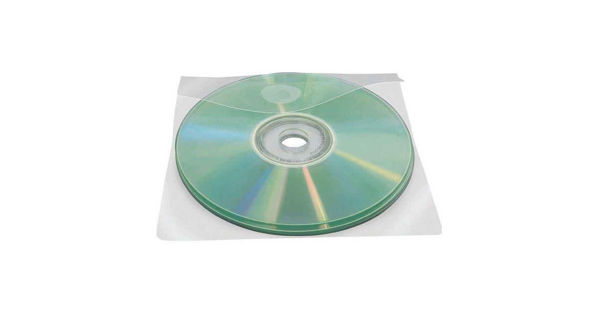 100 Selbstklebende CD/DVD/Blu-ray-Hüllen mit Klappe 127x127 mm
