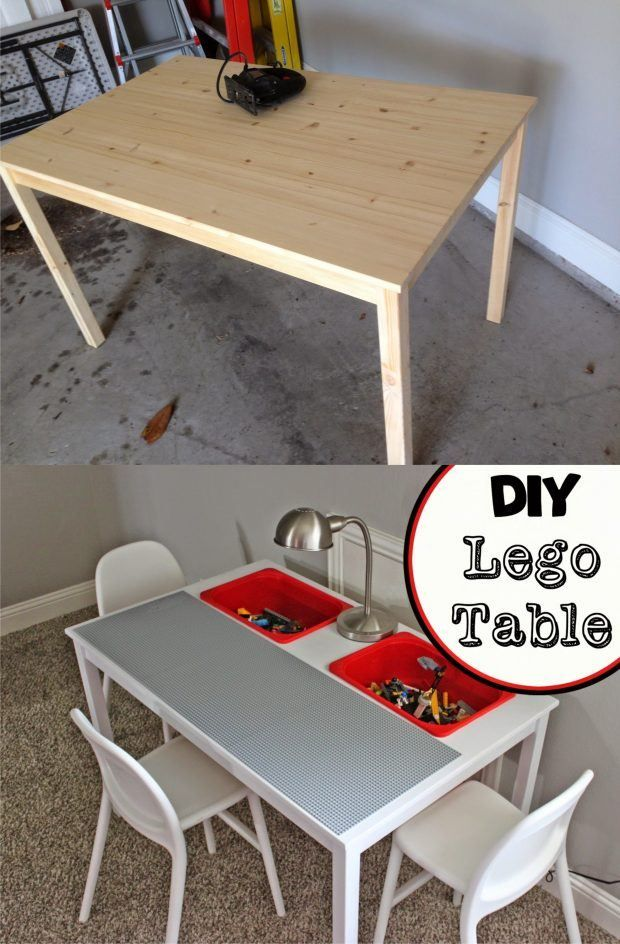 Lego Table Diy, Wood Lego Table With Chairs