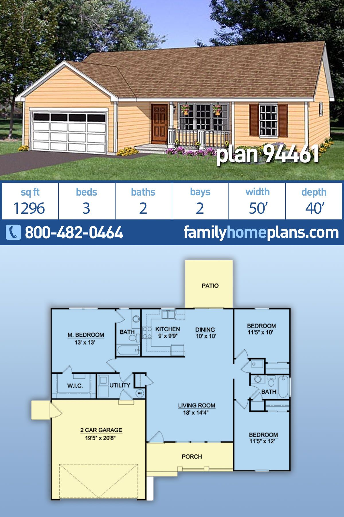 Ranch Style House Plan 94461 With 3 Bed 2 Bath 2 Car Garage Ranch Style House Plans Ranch House Plans Family House Plans
