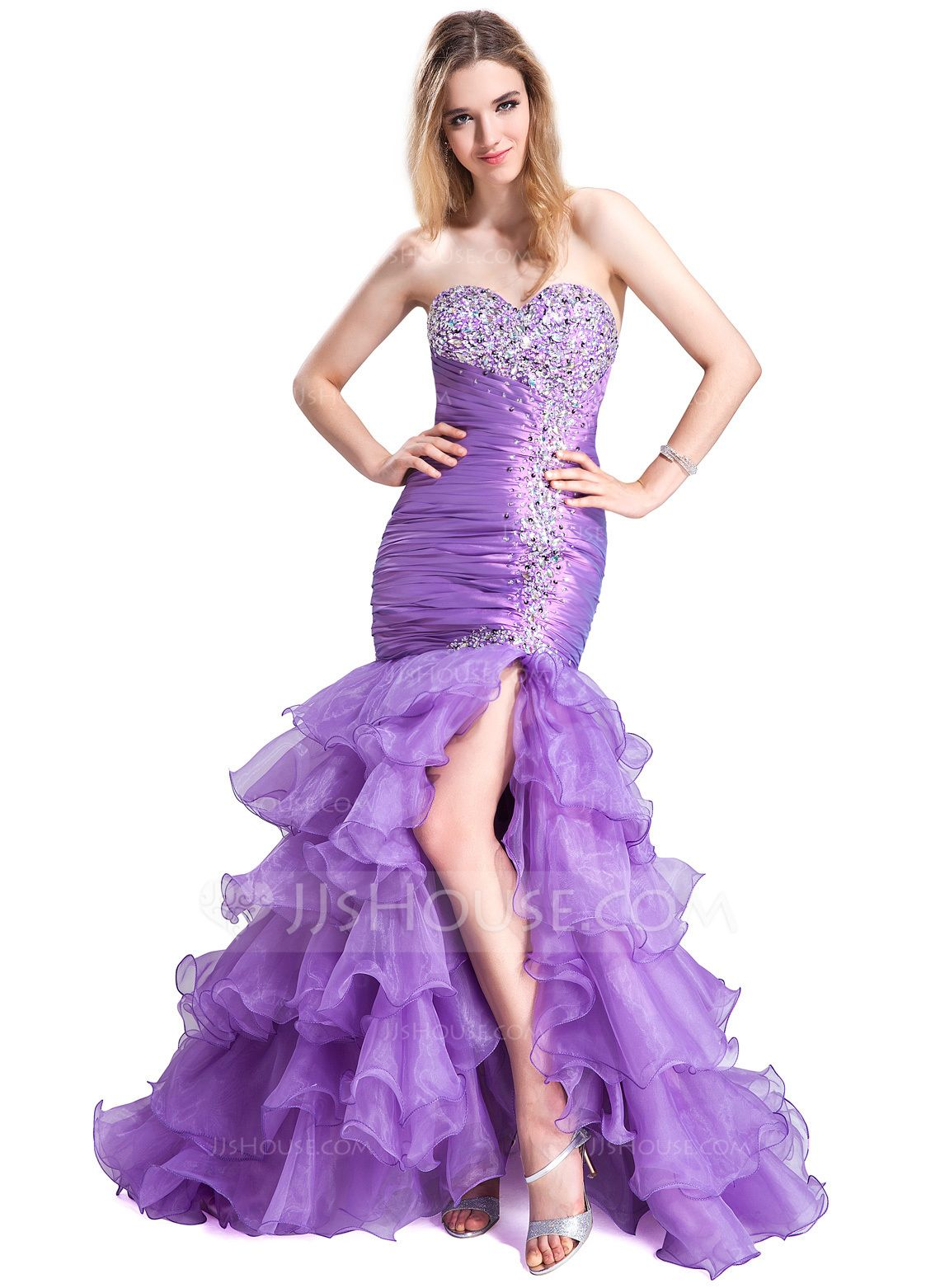 Trumpetmermaid sweetheart sweep train organza gown with beading and