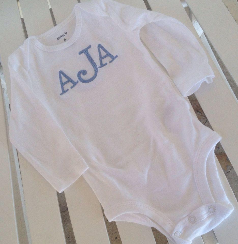 Monogrammed baby boy onesie  by SewAdorablyCharming on Etsy, $8.00