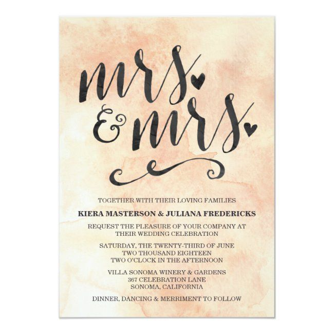 Mrs. & Mrs. Lesbian Wedding Invitation | Zazzle.com