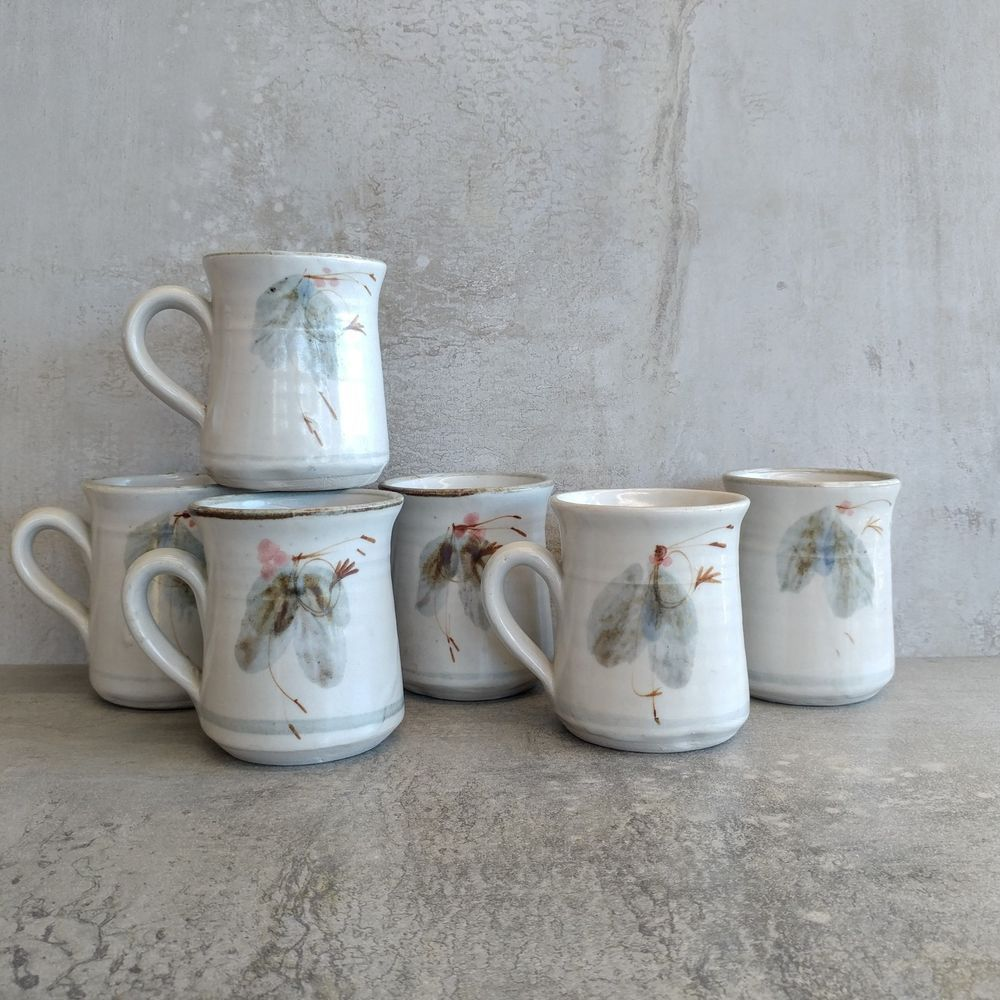 Details about 6 Vintage Robert Gordon Pottery Coffee Mugs