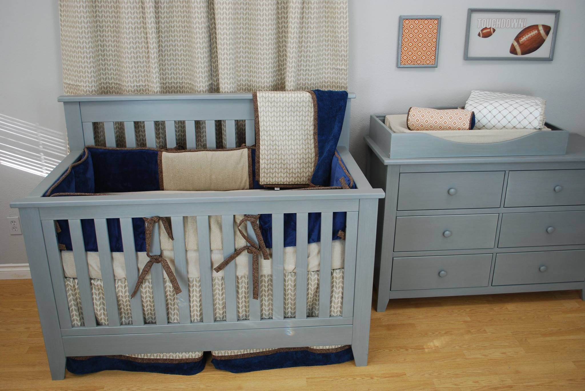 Tan, Navy And Orange Sports Theme Nursery With Crib Bedding Set By Pine  Creek Bedding · Dream FurnitureCrib ...