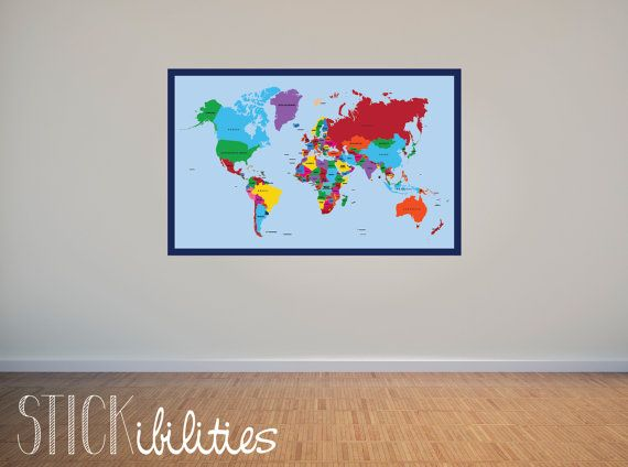 World map wall decal by stickibilities on etsy 4000 kid room world map wall decal by stickibilities on etsy 4000 gumiabroncs Image collections