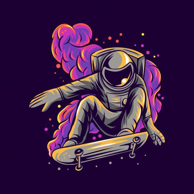 Astronaut Skateboarding On Space Nebula  Illustrat