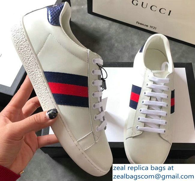 302acca8b Gucci Ace Leather Low-Top Lovers Sneakers Blue/Red Web Creamy  2018_2803115308