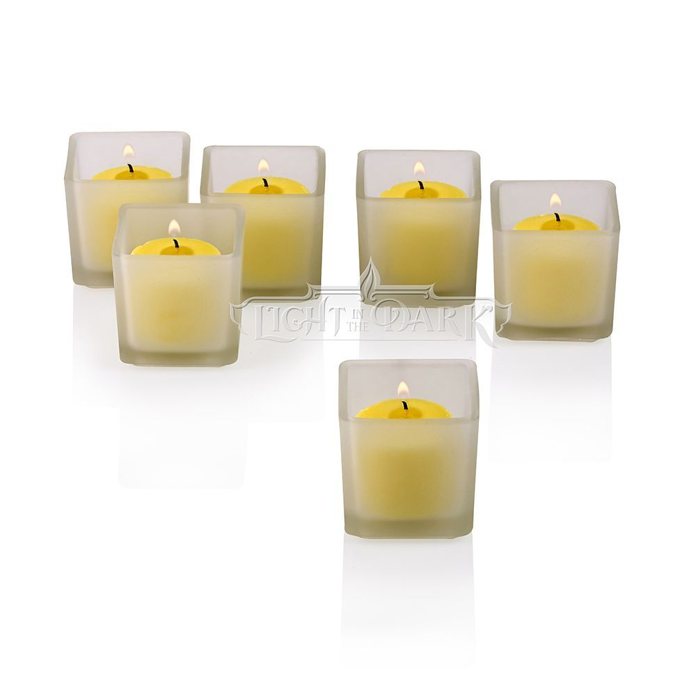 White frosted square votive candle holders with citronella yellow