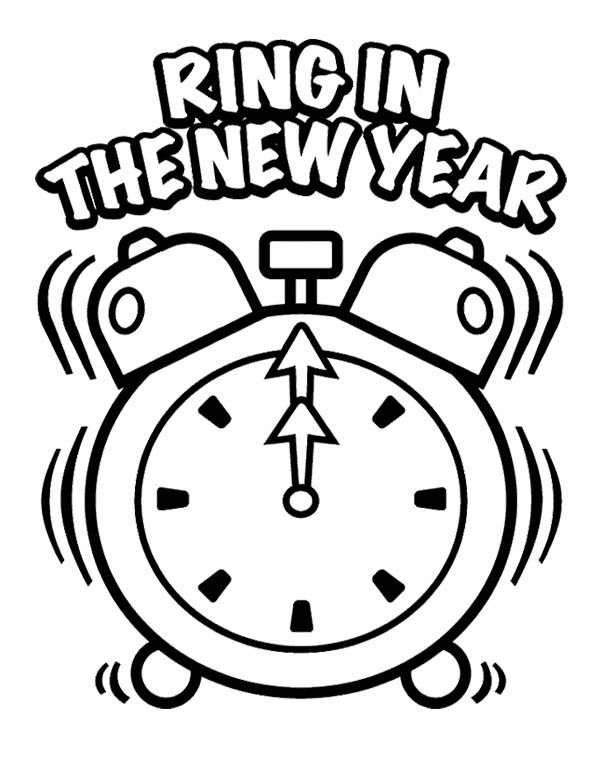 ring in the new year eve coloring page