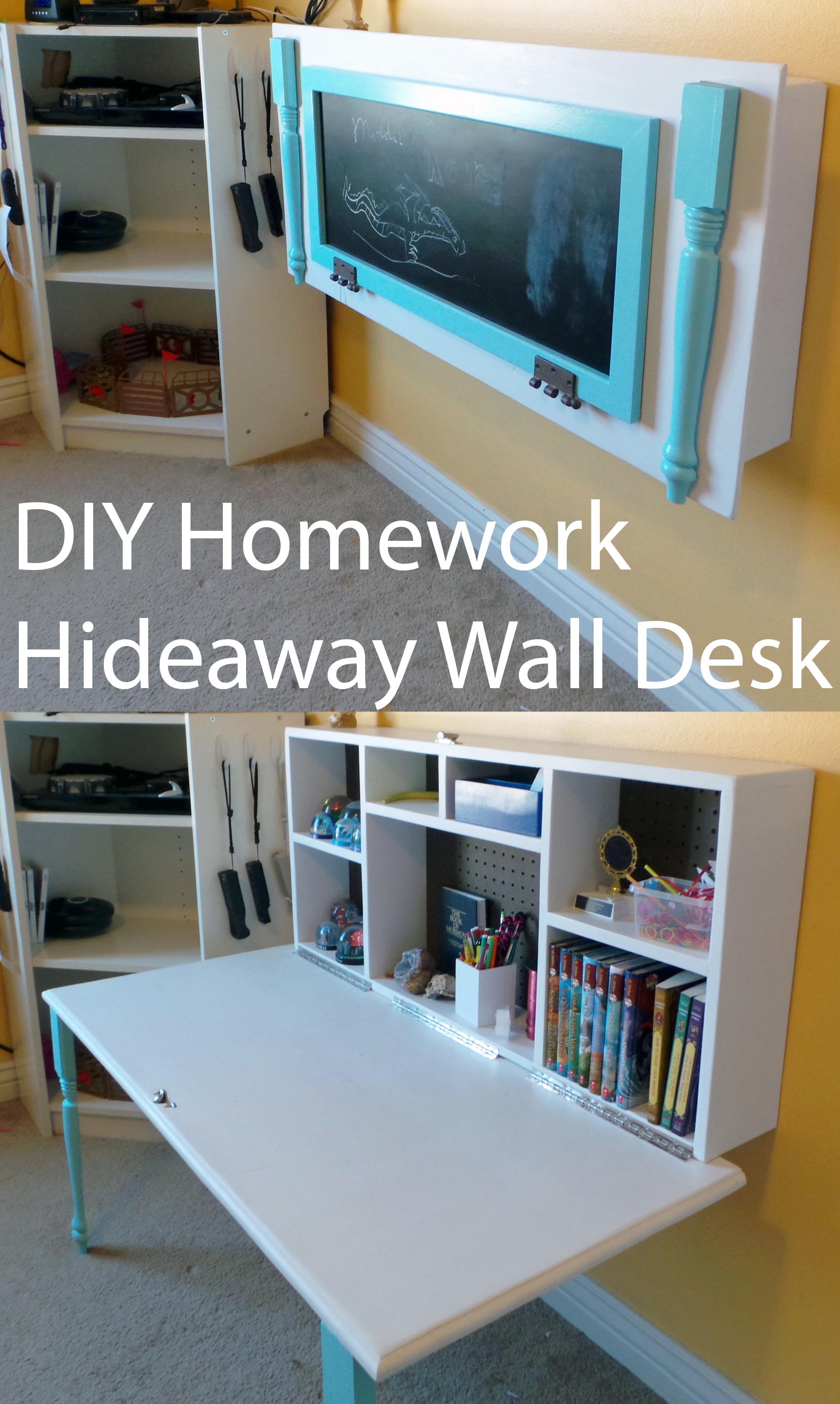 Diy Kids Homework Hideaway Wall Desk Kids Rooms Diy Room Diy