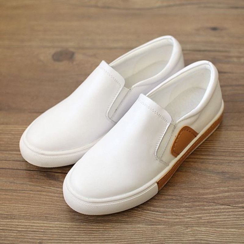 Spring Mori Girls Shoes Woman Slip-on Korean Pedal Flat White Shoes Genuine  Leather Casual Shoes Women s Singles Loafers Shoes b08392d9e0a