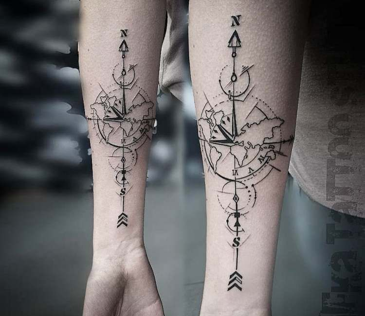 Compass tattoo by Kafka Tattoo