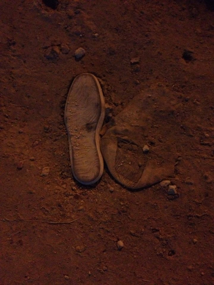 This shoe was buried deep inside a cave in Belize!