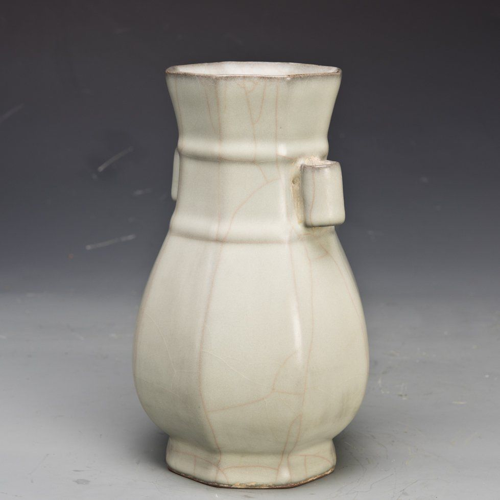 A porcelain guan ware vase with two handles and ridges and a porcelain guan ware vase with two handles and ridges and slightly flared mouth rim reviewsmspy