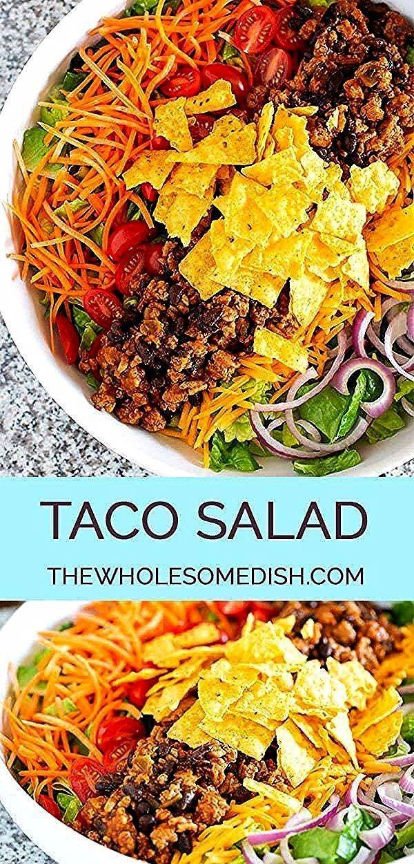 Best Taco Salad Recipe has taco seasoned beef turkey or chicken black beans veggies and an easy taco salad dressing via Amanda The Wholesome DishThe Best Taco Salad Recip...